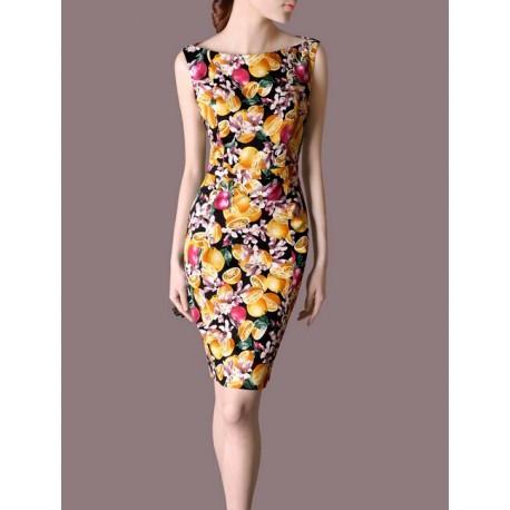 Flower Summer OL Sleeveless Slim Women Fashion Dress lml7005 - ott-123 - Global Online Shopping for Dresses