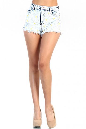 LoveMelrose.com From Harry & Molly   Daisy Acid Wash Denim Shorts