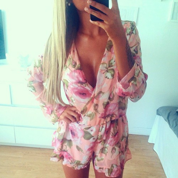 dress romper flowers summer fashion glitter glossy glamour amazing amazing floral pink romper romper cleavage leaves roses long sleeves shorts