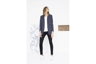 jacket blazer veste rayé belle rayures bleu blue blanche white women pretty