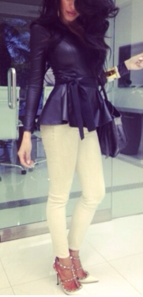jacket black shoes peplum chique