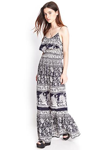 Flounced Tribal Print Maxi Dress | FOREVER21 - 2000123144