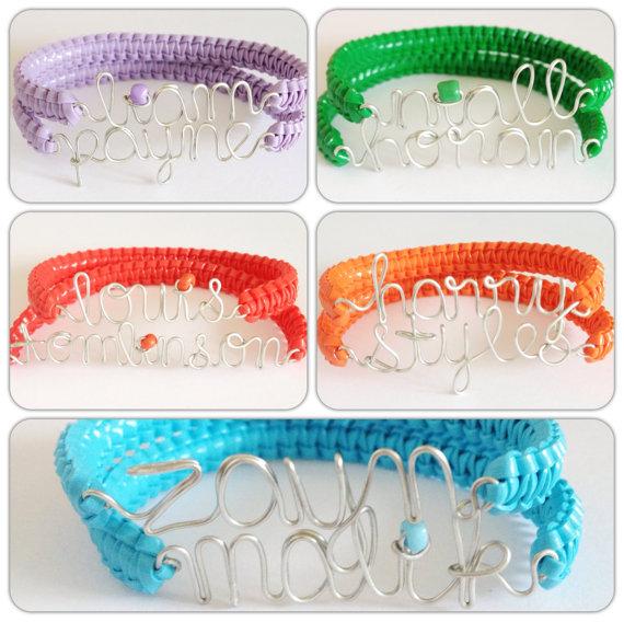 SALE One Direction Names Two Skinny Cobra Bracelets by SMwristlets