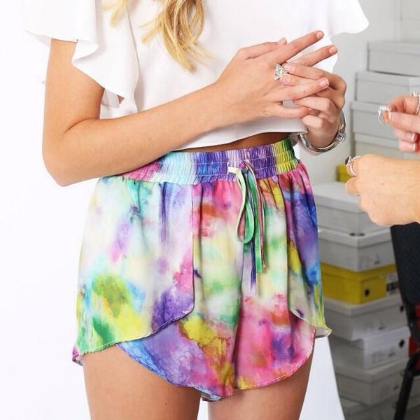 shorts colorful artsy galaxy print gym shorts cute light now