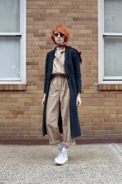 de lune blogger jumpsuit long coat charcoal white shoes coat shoes jewels