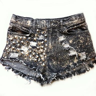 Glam Grey Acid Studded Shorts - Arad Denim