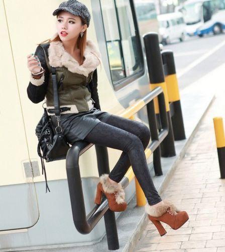 Womens Elegant Faux Suede Lace Up Fur Furry Platform Pumps High Heel Ankle Boots | eBay