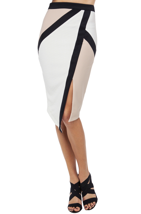 Colorblock Textured Midi Skirt in Off White