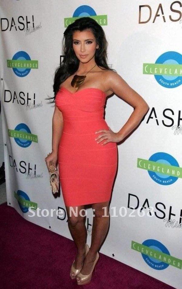 dress coral bodycon dress knee length strapless kim kardashian keeping up with the kardashians