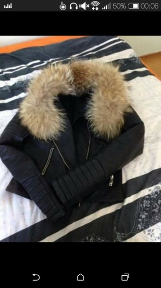 jacket fourrure cuir classy fur vest leather jacket fur leather chic