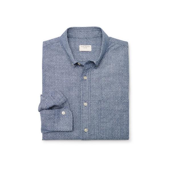 Club Monaco Slim-Fit Chambray Dot Shirt - Polyvore