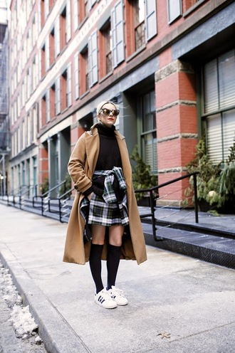 atlantic pacific blogger camel coat adidas shoes plaid skirt knee high socks winter outfits skirt jacket sweater shoes socks