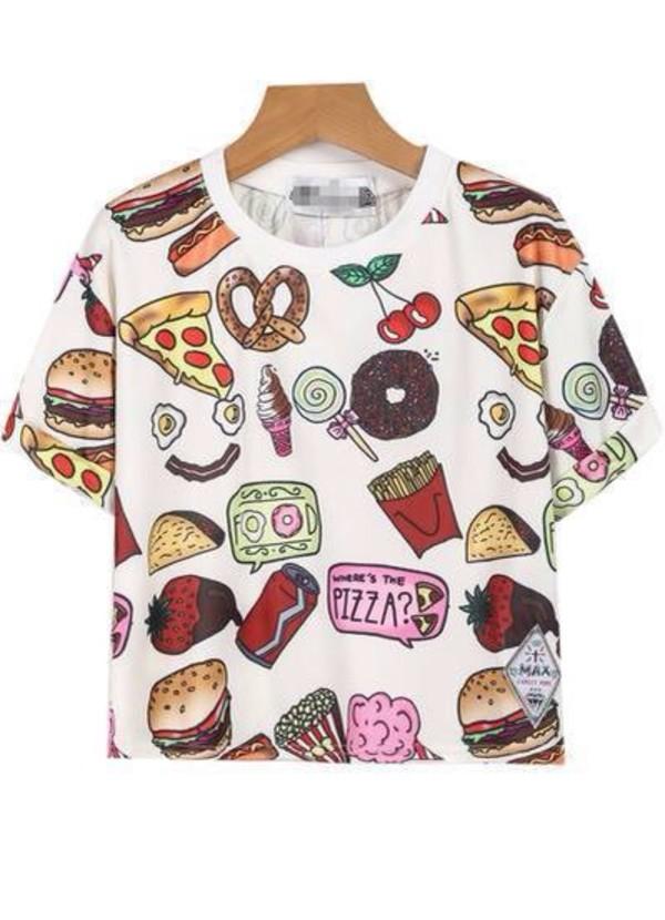 food candy foodporn t-shirt shirt pizza vintage cool girl boho hipster print fashion teenagers ice cream donut fries strawberry summer kawaii boogzel