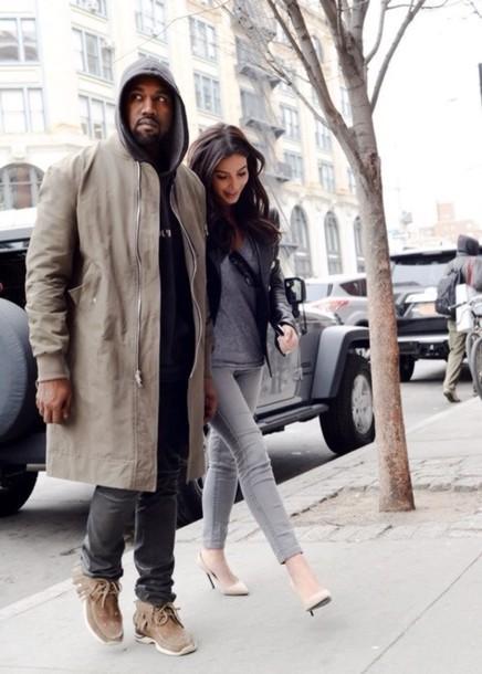 kanye west mens coat grey jeans kim kardashian coat menswear