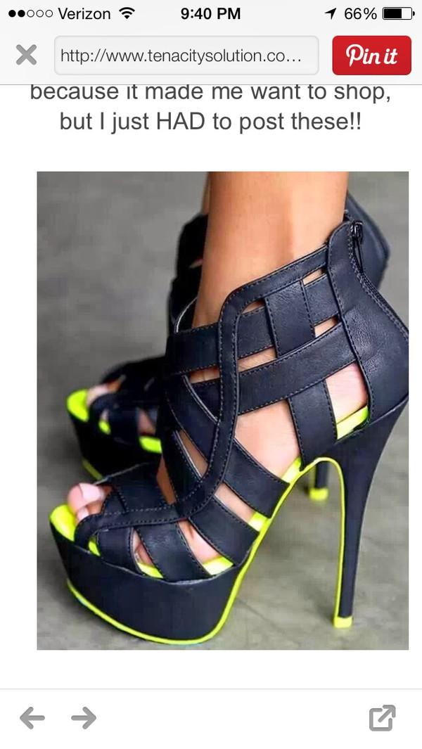 shoes black neon heels