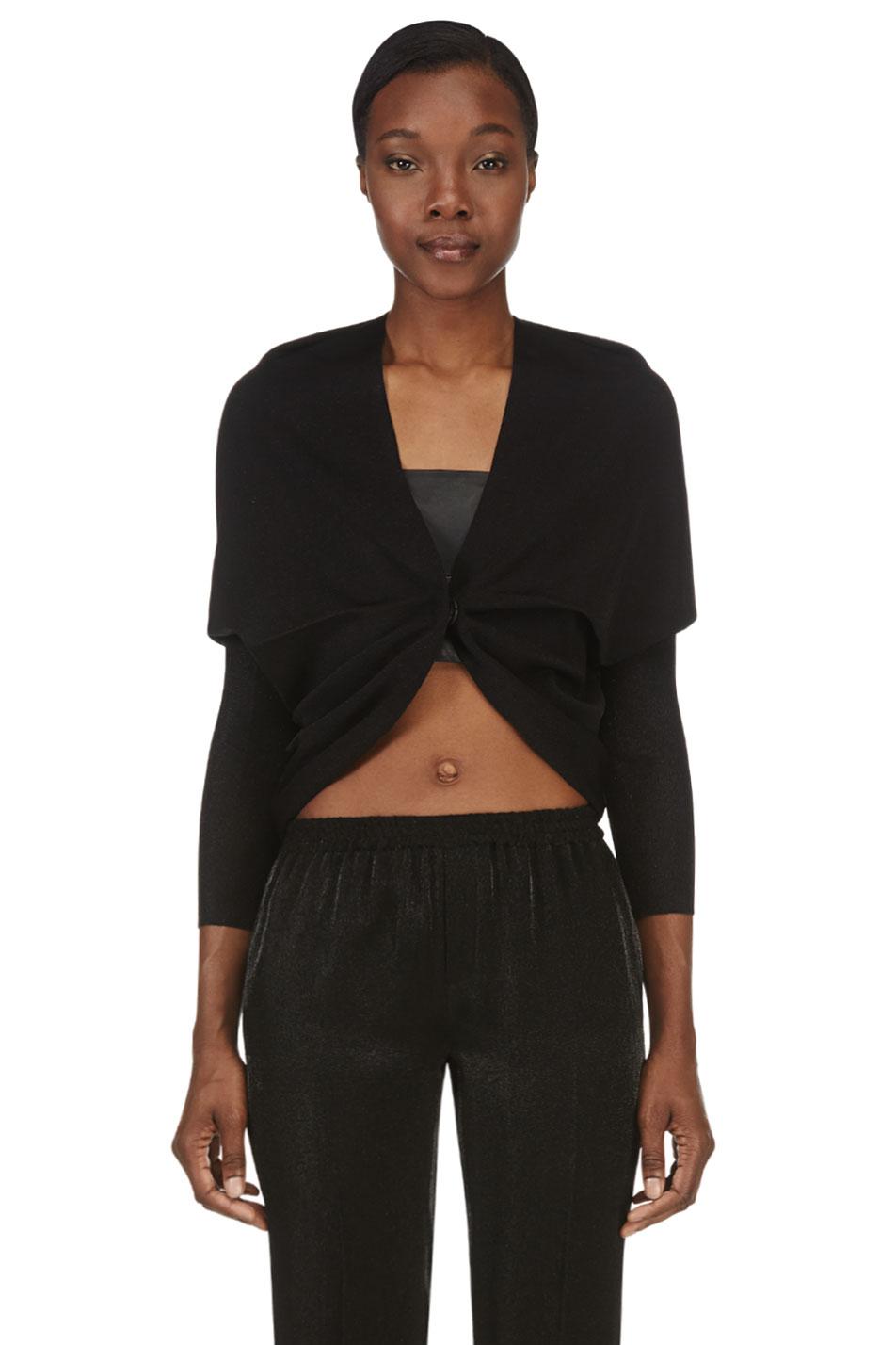 lanvin black draped shrug
