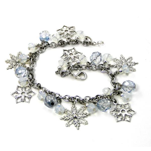 Sale, Snowflakes and Crystal Bracelet, Beaded Charm Bracelet... - Polyvore