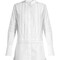 Lace-trimmed bib-front cotton shirtdress