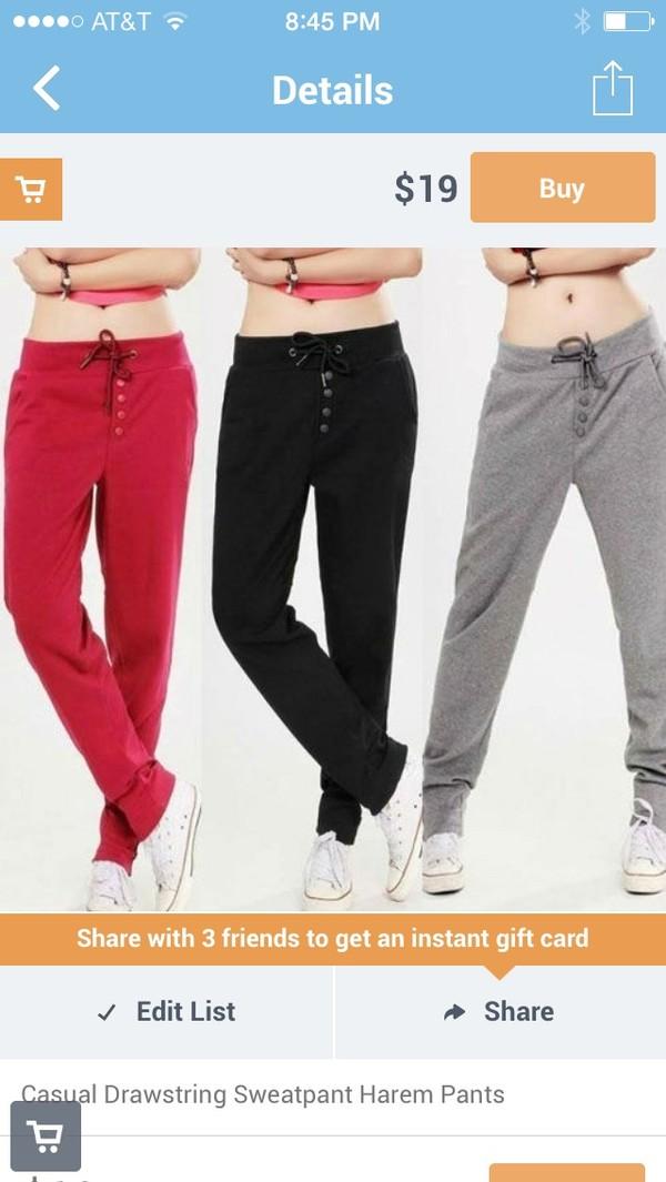 pants sweatpants casual drawstring harem sweatpants grey