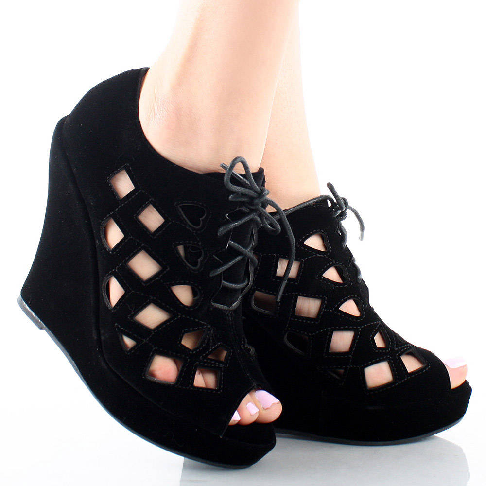 Black Suede Cut Out Lace Up Peep Toe Womens High Heel Platform Wedge Shoes 10 | eBay