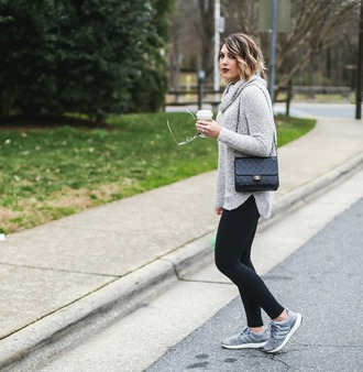 life & messy hair blogger sweater sunglasses leggings shoes bag grey sweater chanel bag sneakers