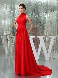 Paula - Regal High Neck Sleeveless Pleated Chiffon Evening Dress with Chapel Train