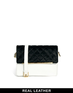 ASOS | ASOS Leather Quilted Cross Body Bag With Pony at ASOS