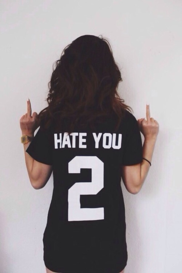 graphic tee black top quote on it jersey jersey dress shirt hate you 2 you balck cool hate black black shirt white short sleeve t-shirt black and whit number hate you black t-shirt
