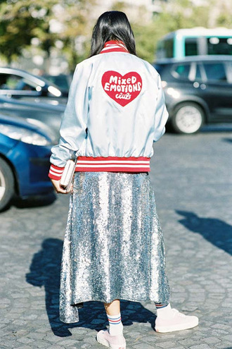 vanessa jackman blogger socks shoes dress sequin skirt bomber jacket clutch sneakers metallic skirt sequins sequins silver tuesday bassen heart cute outfits pastel jacket kawaii streetstyle quote on it sporty chic