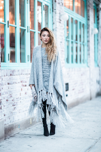scarf tumblr blanket scarf grey scarf boots black boots pointed boots high heels boots sweater grey sweater fall outfits