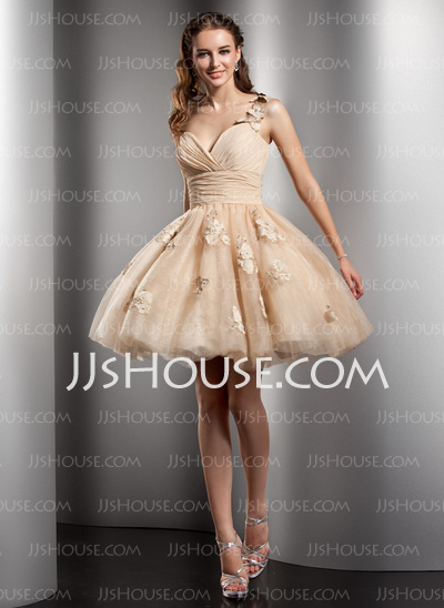 A-Line/Princess One-Shoulder Short/Mini Chiffon Tulle Homecoming Dress With Ruffle Beading Flower(s) (022020672) - JJsHouse
