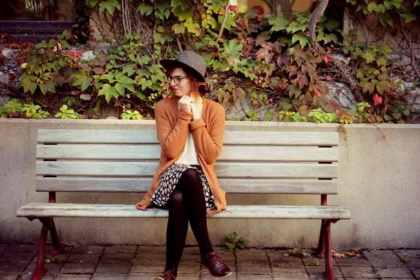 secret garden blogger cardigan skirt rust fedora
