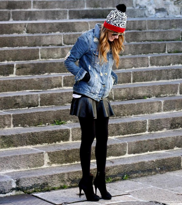 rebel attitude sweater skirt jacket shoes hat