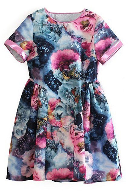 ROMWE | ROMWE Floral Print Pleated Gradient Short Sleeves Dress, The Latest Street Fashion