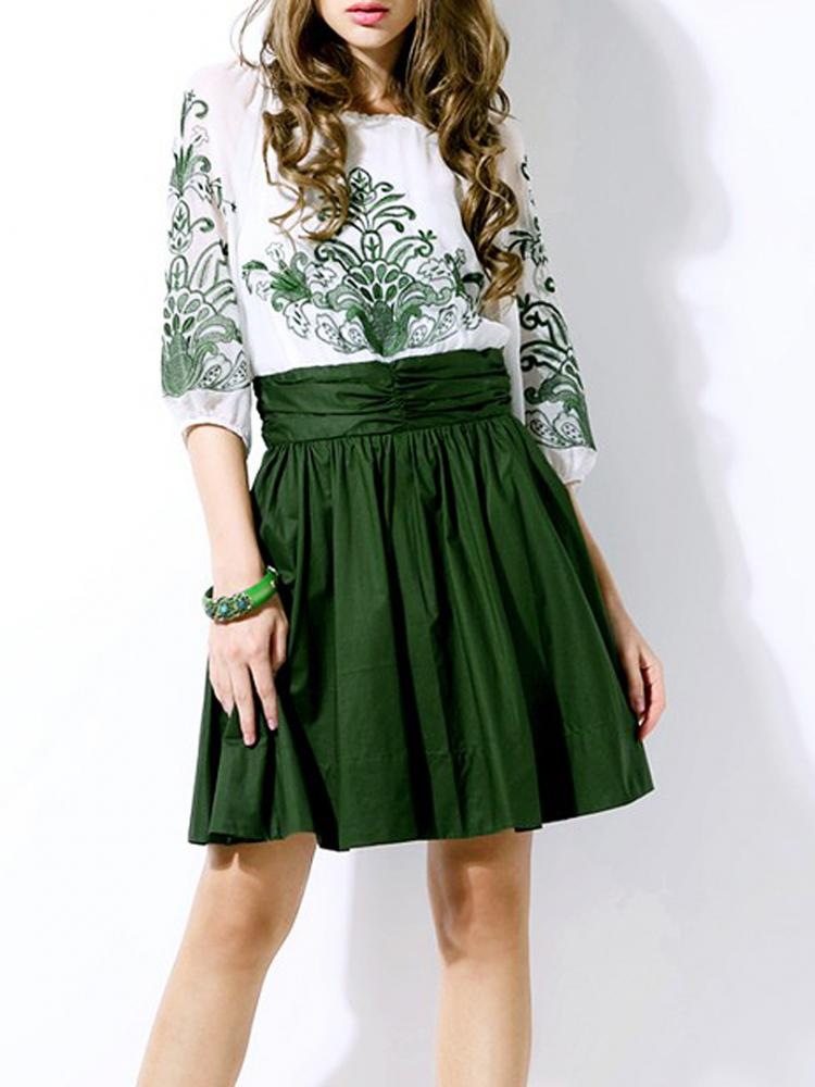 Embroidery Dress with Contrast Pleated Skirt | Choies