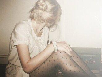 stockings tights pantyhose collants pois polka dots dotted bun pants