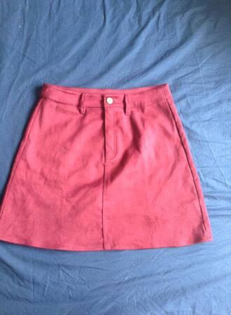 skirt red suede cord corduroy burgundy pretty a line aline a-line a-line skirt red skirt suede skirt cord skirt corduroy skirt