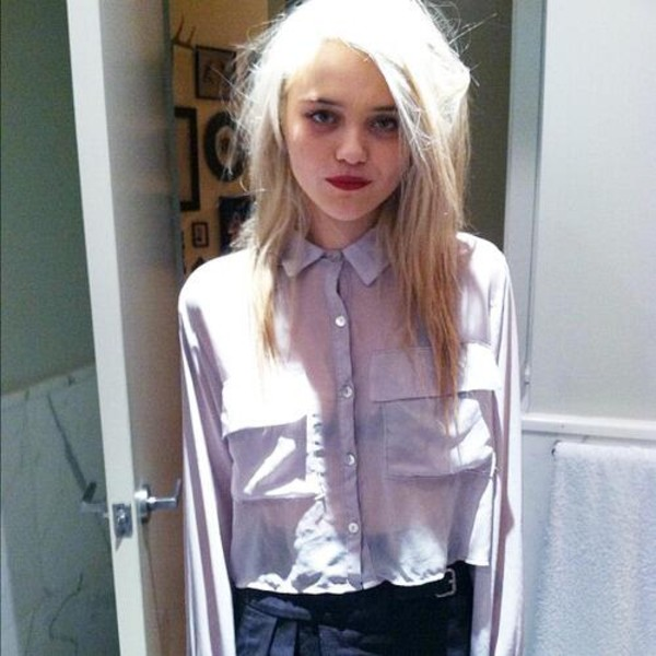 shirt sky chemise white shirt white blouse blouse crop tops cropped cropped blouse sky ferreira purple