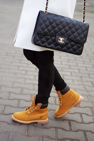 bag chanel inspired shoes shorts timberlands