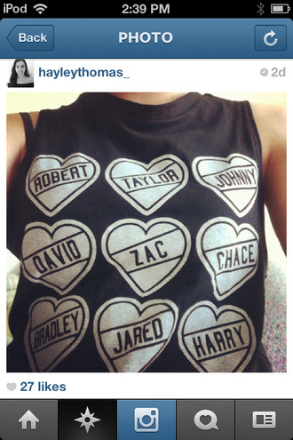 tank top shirt celebrity johnny depp zac efron chace crawford bradley cooper jared leto harry styles t-shirt heart love white black names