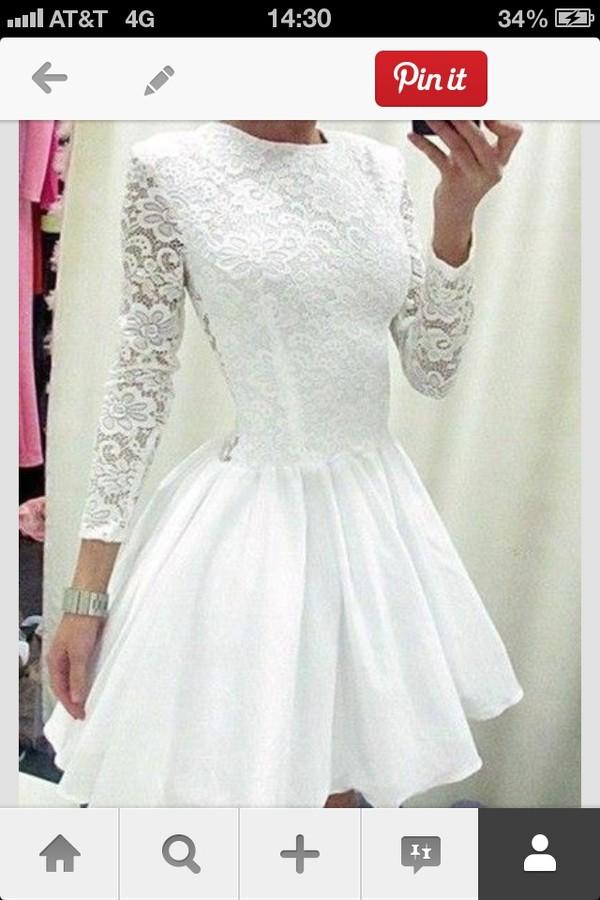 dress white lace long sleeve dress