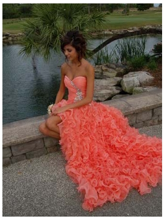 Orange Ball Gown Sweetheart High-low Asymmetrical Prom Dress [E0020] - $248.99 : 24inshop