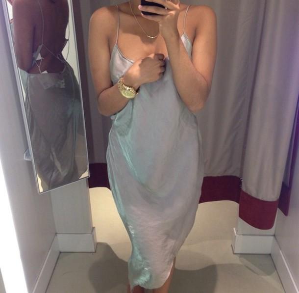 dress light dress blue dress see through dress midi dress light weight spaghetti straps dress