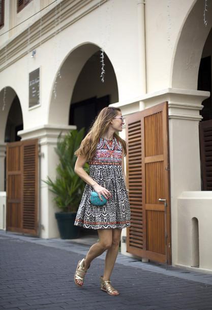 b a r t a b a c blogger patterned dress tribal pattern sandals