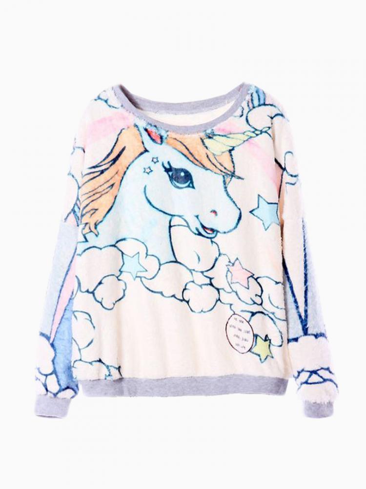 New Look Sweatershirt With Cute Unicorn Pattern   Choies