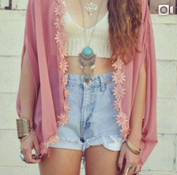 sweater pink flowers