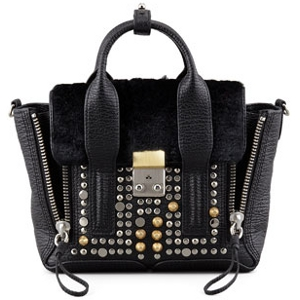 3.1 Phillip Lim Black Pashli Mini Satchel - Studded Leather & Fur - Sale