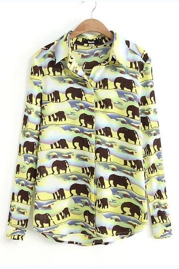 Cartoon Elephants Print Chiffon Shirt [SHWM00006] - PersunMall.com