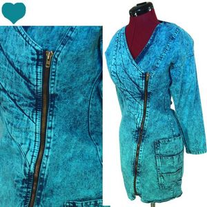 Vintage 80s 90s Acid Wash Denim Jean Dress XS s Hipster Avant Garde Party Blue | eBay