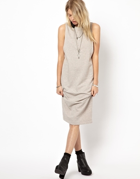 ASOS | ASOS Cocoon Dress In Loop Back With Drop Armhole at ASOS